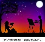 artist paints a girl with a fan ...   Shutterstock .eps vector #1089503342