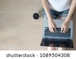 enjoys working at home | Shutterstock . vector #1089504308
