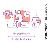 procrastination concept icon.... | Shutterstock .eps vector #1089509972