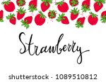 template with strawberry and... | Shutterstock .eps vector #1089510812