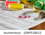 diy concept. sewing supplies ... | Shutterstock . vector #1089518012