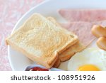 Thai style breakfast with sweet heart egg in the morning - stock photo