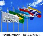 mercosur flag silk waving flags ... | Shutterstock . vector #1089526868