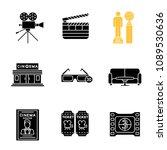 cinema glyph icons set. movie... | Shutterstock .eps vector #1089530636