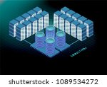 isometric banner with bitcoin... | Shutterstock .eps vector #1089534272