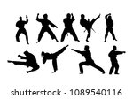 karate stances and hits... | Shutterstock .eps vector #1089540116