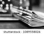 pile of newspapers on the... | Shutterstock . vector #1089558026