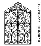 black metal gate with forged... | Shutterstock .eps vector #1089565445
