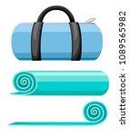 exercise mat and sports bag.... | Shutterstock .eps vector #1089565982