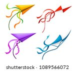 colorful kite set. outdoor... | Shutterstock .eps vector #1089566072