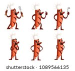 set of grill sausage character... | Shutterstock .eps vector #1089566135