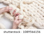 men's hand knit with thick yarn ... | Shutterstock . vector #1089566156