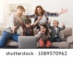 family watching game and... | Shutterstock . vector #1089570962