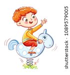 boy riding on the spring...   Shutterstock .eps vector #1089579005