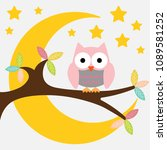 owl on a branch on a night moon ... | Shutterstock .eps vector #1089581252