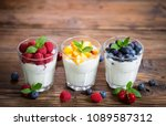 fresh fruit yogurt with fresh... | Shutterstock . vector #1089587312
