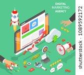 digital marketing agency. flat... | Shutterstock .eps vector #1089592172