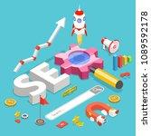 seo. flat isometric vector... | Shutterstock .eps vector #1089592178