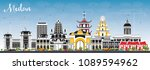 medan indonesia city skyline... | Shutterstock .eps vector #1089594962