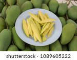 mango ready to eat in a plastic ... | Shutterstock . vector #1089605222