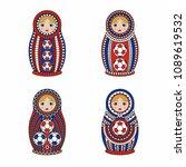 matrioshka or nesting dolls set ... | Shutterstock .eps vector #1089619532