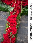 red roses in floral funerary... | Shutterstock . vector #1089622058