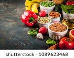 healthy food background  trendy ...   Shutterstock . vector #1089623468