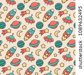 space seamless pattern with... | Shutterstock .eps vector #1089632495