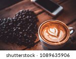 latte arts coffe. white cup of...   Shutterstock . vector #1089635906