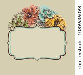 retro colorful floral frame | Shutterstock .eps vector #1089636098