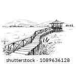 bridge over meadow to the... | Shutterstock .eps vector #1089636128