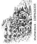 mountain village sketch   Shutterstock .eps vector #1089636335