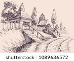 village road  small old houses... | Shutterstock .eps vector #1089636572