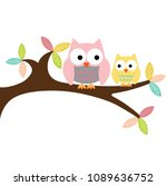 owl mom two and baby sitting on ... | Shutterstock .eps vector #1089636752