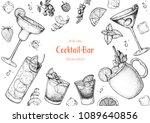 alcoholic cocktails hand drawn... | Shutterstock .eps vector #1089640856