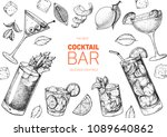 alcoholic cocktails hand drawn... | Shutterstock .eps vector #1089640862
