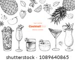 alcoholic cocktails hand drawn... | Shutterstock .eps vector #1089640865