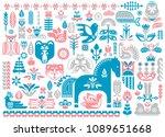 swedish dala horse pattern ... | Shutterstock .eps vector #1089651668