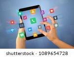 female fingers touching tablet... | Shutterstock . vector #1089654728