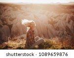 beautiful woman traveler at...   Shutterstock . vector #1089659876