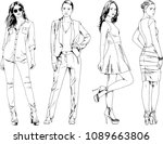 vector drawings on the theme of ... | Shutterstock .eps vector #1089663806