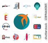 set of 13 simple editable icons ... | Shutterstock .eps vector #1089664085