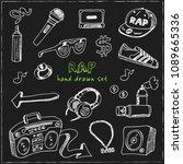 rap hand drawn doodle set.... | Shutterstock .eps vector #1089665336