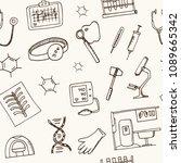 biochemistry haand drawn doodle ... | Shutterstock .eps vector #1089665342