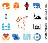 set of 13 simple editable icons ... | Shutterstock .eps vector #1089665402