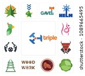 set of 13 simple editable icons ... | Shutterstock .eps vector #1089665495