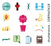 set of 13 simple editable icons ... | Shutterstock .eps vector #1089665618