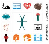 set of 13 simple editable icons ... | Shutterstock .eps vector #1089666035