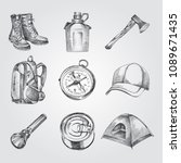 hand drawn camping set sketches.... | Shutterstock .eps vector #1089671435