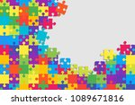 colorful background puzzle.... | Shutterstock .eps vector #1089671816
